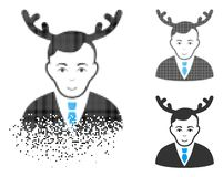 Disappearing Dot Halftone Horned Husband Icon with Face. Horned husband icon with face in dissipated, pixelated halftone and undamaged solid variants. Pieces are royalty free illustration