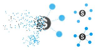 Disappearing Dotted Halftone Dollar Virtual Links Icon. Dollar virtual links icon in dispersed, dotted halftone and whole versions. Pieces are arranged into royalty free illustration