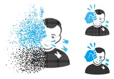 Disappearing Dotted Halftone Head Strike Icon with Face. Head strike icon with face in dissolved, dotted halftone and undamaged solid variants. Points are vector illustration