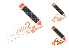 Disappearing Dotted Halftone Writing Pencil Icon. Writing pencil icon in dissolving, pixelated halftone and undamaged whole variants. Pieces are arranged into vector illustration