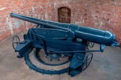 Disappearing gun. At chulachomklao fort ,Thailand Stock Photo