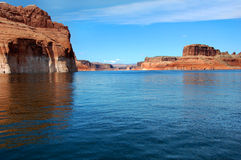 Disappearing between Lake Powell Cliffs Stock Photo