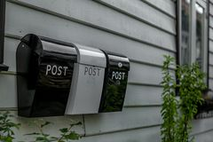 The disappearing mail boxes in Bergen in Norway - 2 royalty free stock photography