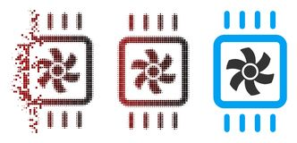 Disappearing Pixel Halftone Chip Cooling Icon. Vector chip cooling icon in dispersed, pixelated halftone and undamaged whole variants. Disappearing effect uses stock illustration