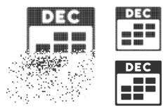 Disappearing Pixel Halftone December Calendar Grid Icon. December calendar grid icon in fragmented, pixelated halftone and solid versions. Pieces are combined royalty free illustration