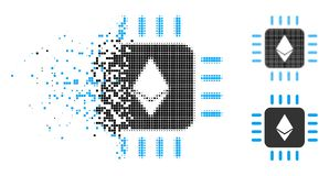 Disappearing Pixel Halftone Ethereum Processor Chip Icon. Ethereum processor chip icon in dispersed, dotted halftone and undamaged solid versions. Pixels are stock illustration