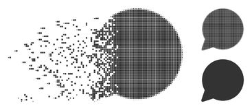 Disappearing Pixel Halftone Hint Balloon Icon. Gray vector hint balloon icon in dispersed, dotted halftone and undamaged solid variants. Disappearing effect uses Royalty Free Stock Photo