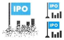 Disappearing Pixel Halftone IPO Bar Chart Icon. IPO bar chart icon in disappearing, pixelated halftone and undamaged entire versions. Particles are composed into stock illustration