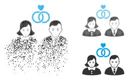 Disappearing Pixel Halftone People Marriage Icon with Face. People marriage icon with face in dissipated, dotted halftone and undamaged whole variants. Cells are stock illustration