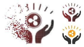 Disappearing Pixel Halftone Ripple Prosperity Hands Icon vector illustration