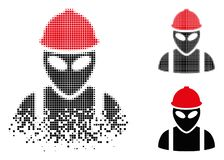 Disappearing Pixelated Halftone Alien Builder Icon. Alien builder icon in dispersed, dotted halftone and undamaged entire versions. Points are composed into vector illustration