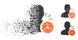 Disappearing Pixelated Halftone Body Execution Icon. Body execution icon in disappearing, dotted halftone and undamaged solid versions. Points are organized into stock illustration