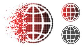 Disappearing Pixelated Halftone Internet Globe Icon. Internet globe icon in dispersed, dotted halftone and undamaged entire versions. Elements are combined into vector illustration