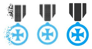 Disappearing Pixelated Halftone Maltese Cross Icon. Maltese cross icon in dispersed, dotted halftone and undamaged variants. Cells are combined into vector vector illustration