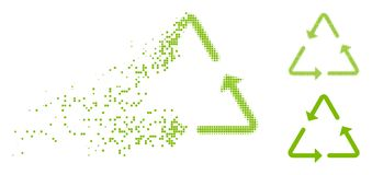 Disappearing Pixelated Halftone Recycling Triangle Icon. Recycling triangle icon in dissolved, dotted halftone and entire versions. Elements are composed into vector illustration