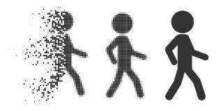 Disappearing Pixelated Halftone Walking Child Icon. Walking child icon in fragmented, dotted halftone and whole versions. Points are grouped into vector stock illustration
