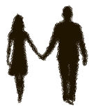 Disappearing silhouette of loving couple Royalty Free Stock Photos