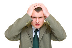 Disappoint men hold his head Royalty Free Stock Photography