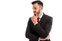 Disappointed business man. On white background Stock Photos