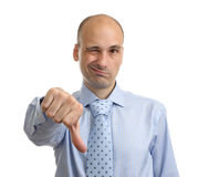 Disappointed businessman showing thumb down sign Stock Photos