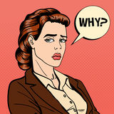 Disappointed Businesswoman. Comic Bubble with Expression. Pop Art Royalty Free Stock Image