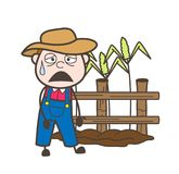 Disappointed Cartoon Farmer in Field Vector. Design Royalty Free Stock Photos