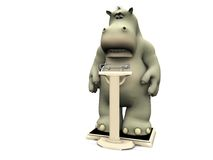 Disappointed cartoon hippo on scales. A cartoon hippo looking disappointed when weighing himself on a floor scale. White background Stock Photography