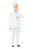 Disappointed caucasian chef cook with thumb down. Full length of sad chef cook showing thumb down. Young chef cook with his thumb down. Vector flat design Royalty Free Stock Images
