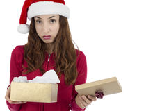 Disappointed christmas gift box woman Royalty Free Stock Photography
