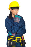 Disappointed constructor worker woman Royalty Free Stock Images
