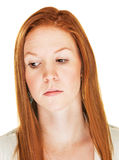 Disappointed Female. Close up of isolated disappointed Caucasian female Stock Photos