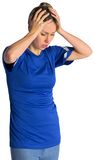Disappointed football fan in blue jersey Stock Photos