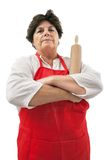 Disappointed grandmother with rolling pin Stock Photography