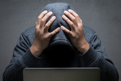 Disappointed hacker royalty free stock photo