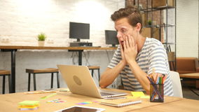 Disappointed Man at Work, Failure in Project, Typing on Laptop. +++ , creative designer , , creative designer , young man , freelancer stock video