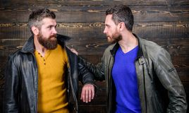 Disappointed partner argue. Showdown concept. Conflict and confrontation. Man argue while guy feel sorry. Fail and. Misunderstanding. Feel guilty. Failure and royalty free stock photos