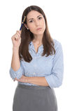 Disappointed and pensive isolated businesswoman. Stock Images