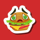 Disappointed And Sad Burger Sandwich, Cute Emoji Sticker On Red Background Royalty Free Stock Images