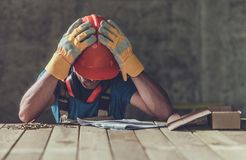 Disappointed Sad Contractor Royalty Free Stock Images