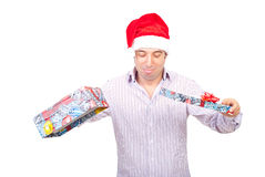 Disappointed Santa helper with empty box Royalty Free Stock Photo