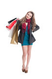 Disappointed shopping woman Royalty Free Stock Image