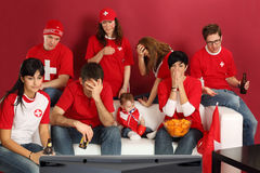 Disappointed Swiss sports fans stock photo