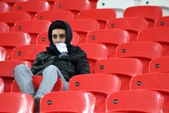 Disappointed Tottenham fan. Players pictured during the UEFA Champions League Round of 16 game between Tottenham Hotspur and Juventus Torino held on March 7 Royalty Free Stock Images
