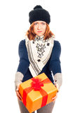 Disappointed woman with gift box Royalty Free Stock Photo