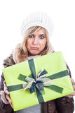 Disappointed woman with present Stock Image