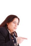 Disappointed woman showing her unhappiness Royalty Free Stock Image