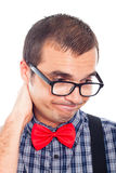 Disappointed worried nerd man Royalty Free Stock Photo