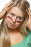 Disappointed Young Female Sports Fan With German Royalty Free Stock Image