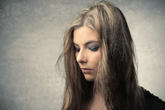 Disappointment. Portrait of a beautiful woman with disappointed expression Royalty Free Stock Photo