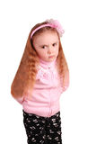 Disappointment child girl in the studio Royalty Free Stock Images